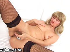 masturbation, wife, nylons, mature, toys, dildo, older, solo, milf, stockings, blonde, amateur
