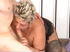 Chubby blonde hoe with big boobs suck...
