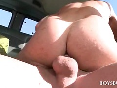 Gay ass fuck in the bus with straight dude