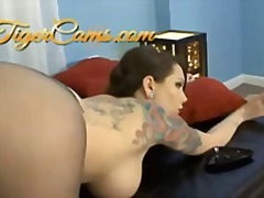 Tattoed babe in pantyh... video