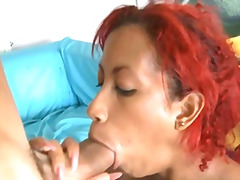 Horny cuban sucking and fucking a big...