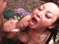 Two guys bang asian and cum in her mouth