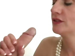 Mature stocking fuck and facial