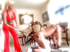 Hot sexy blonde spanks...