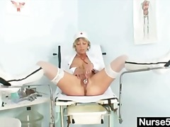dildo, pussy, old, blonde, uniform