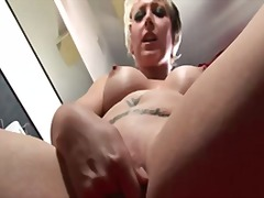 milf, british, blonde, masturbation,