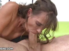 cumshot, milf, boobs, kissing