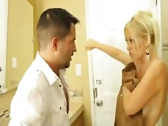 Blonde milf fucks in t...