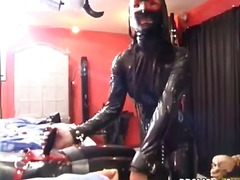 Dirty brunette in latex gets bonded p...