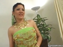Cute arab bellydancing girl showing her