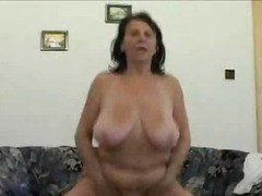 homemade, brunette, fingering, dildo, boobs, granny