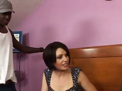 Sarah shevon's pussy beaten down by black cock
