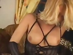 stockings, blonde, shemale, masturbation,