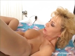 cumshot, mom, blonde, mature, wife,