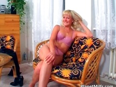Old blonde slut rides big cock on the