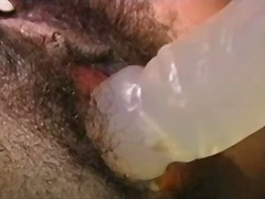Hairy ebony slut mastu...