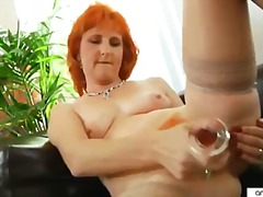 mature, redhead, heels, orgasm, masturbation, stockings, solo, dildo, mom, milf