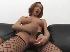 boobs, solo, big, redhead, cock, shemale