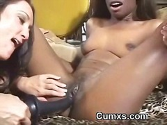 Afro black lesbian interracial licking and toy fucking