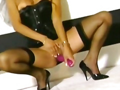 Masturbating in a corset and sheer st...