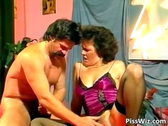 Horny mature brunette gets hairy puss...