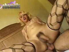 Naughty blonde banged ...