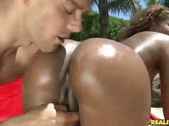 lick, pussy, tits, outdoors, ass,