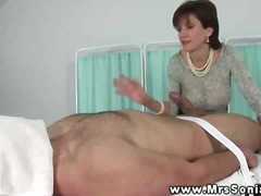 mature, handjob, brunette, massage, tits