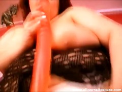 Thumb: Bbw chick fucks her pu...