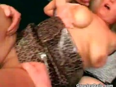 Two mature milfs having great gang bang