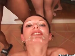 Hot brunette gets wet pussy and throat