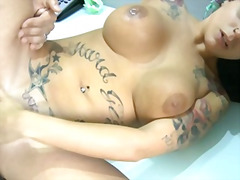 Horny latina takes a cock deep in her...