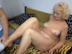 Alpha Porno Movie:Blonde grandma does a 69 with him