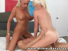 teen, milf, blonde, pussy, threesome,