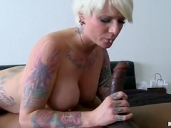 milf, facial, blonde, interracia, blowjob