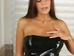 heels, milf, tits, gaping, dildo, pornstar, toys, insertion, tight, brunette, wet, masturbation, latex, solo, anal, bathroom