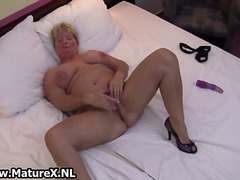 dildo, solo, stockings, blonde, toy,