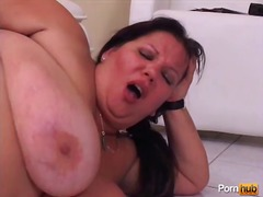 fat, bbw, milf, handjob, mom, cumshot,
