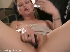 Smoking and dildo masturbation