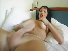 brunette, handjob, monstercock