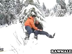 Handsome stud gets his cock sucked on the slopes