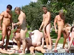 gape, outdoors, group, dp, outdoor