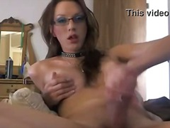 Tranny in spectacles stroking on webcam
