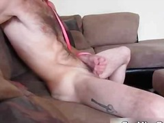 Hairy gay guy busts his nuts and gets...
