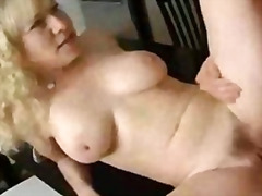 Hot blonde curly mature granny jennifer janes fucked in kitchen