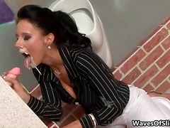 Dirty brunette slut gets jizzed hard part6