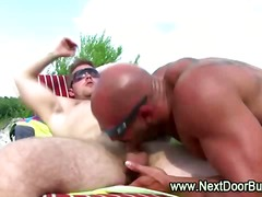 tattoo, gay, sucking, oral, outdoors,