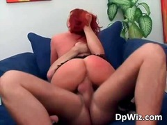redhead, sucking, boobs, milf, dp,