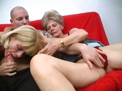 2 mad mature girls share 1 strong penis