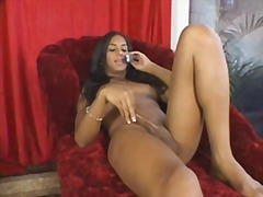 Luscious tranny home alone